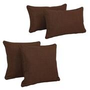 Blazing Needles Blazing Needles Soft Home Furnishings 4 Piece Outdoor Throw Pillows Set; Cocoa