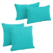 Blazing Needles Blazing Needles Soft Home Furnishings 4 Piece Outdoor Throw Pillows Set; Aqua Blue