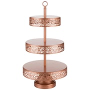 AmalfiDecor Victoria 3 Tier Metal Cupcake Stand; Rose Gold