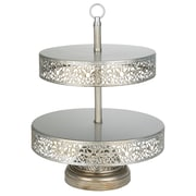 AmalfiDecor Victoria 2 Tier Metal Cupcake Stand; Silver
