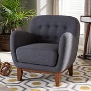 Wholesale Interiors Baxton Studio Susana Upholstered Button Tufted Arm Chair; Dark Gray