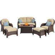Hanover Newport 6 Piece Fire Pit Deep Seating Group w/ Cushions; Cream