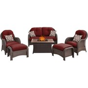 Hanover Newport 6 Piece Fire Pit Deep Seating Group w/ Cushions; Red