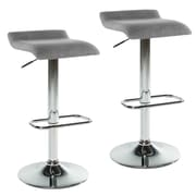 WorldWide HomeFurnishings Adjustable Height Swivel Bar Stool w/ Cushion (Set of 2); Gray