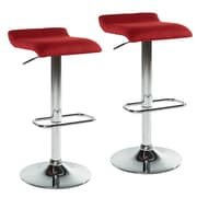 WorldWide HomeFurnishings Adjustable Height Swivel Bar Stool w/ Cushion (Set of 2); Red