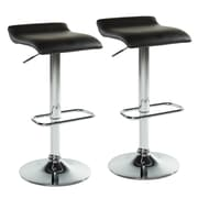 WorldWide HomeFurnishings Adjustable Height Swivel Bar Stool w/ Cushion (Set of 2); Black