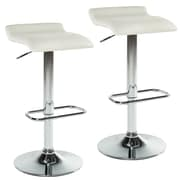 WorldWide HomeFurnishings Adjustable Height Swivel Bar Stool w/ Cushion (Set of 2); White
