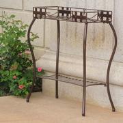 International Caravan Santa Fe Patio Rectangular Plant Stand; Hammered Bronze