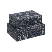 Cole & Grey 2 Piece Wood/Leather Box Set