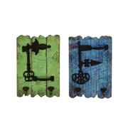 Cole & Grey 2 Piece Wood/Metal Wall Hook Set