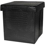 Oriental Furniture Storage Ottoman; Black