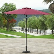 AdecoTrading 9' Patio Round Market Umbrella; Wine Red