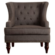iNSTANT HOME Jewel Tufted Wingback Club Chair; Dark Brown