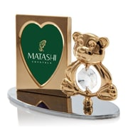 MatashiCrystal 2 Piece Crystal Decorated Teddy Bear Figurine and Picture Frame Set