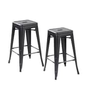 United Chair Industries LLC 26.4'' Bar Stool (Set of 2); Antique Black Silver
