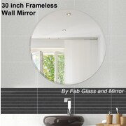 Fab Glass and Mirror Beveled Polished Frameless Wall Mirror w/ Hooks; 30'' H x 30'' W x 0.25'' D