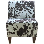 Fox Hill Trading Penelope Armless Cowhide Brown Slipper Chair