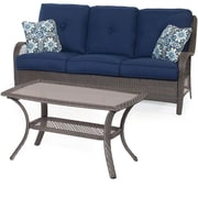 Hanover Orleans 2-Piece Patio Seating Group w/ Cushion; Navy