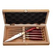 Fleur De Lys Laguiole Mahogany Knife (Set of 6)