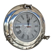 Handcrafted Nautical Decor Deluxe Class Porthole 15'' Clock; Chrome