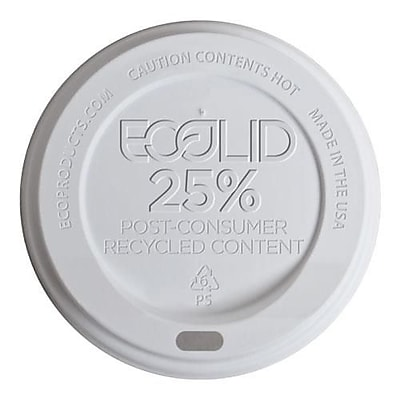 Eco-Products 10-20 Oz. White EcoLid 25 Percent Post-Consumer Recycled Content Hot Cup Lids, White, 1000/Pack (EP-HL16-WR) 2475772