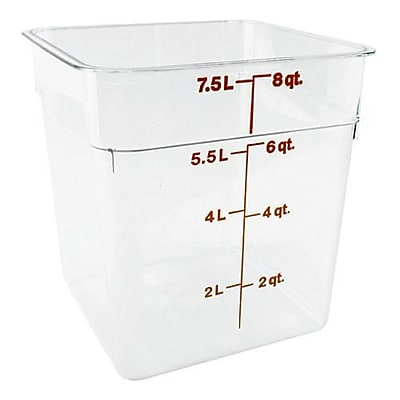 """""Cambro 8 Wt CamSquare Food Storage Container, 8 3/8"""""""" L x 8 3/8"""""""" W x 9 1/8"""""""" H, Clear, 6/Pack (8SFSCW135)"""""" 2475499"