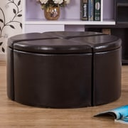 Warehouse of Tiffany Lacresia 4-Piece Leather Storage Ottoman Set