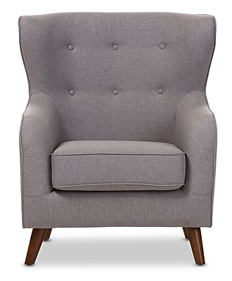 Wholesale Interiors Baxton Studio Sabrina Upholstered Club Chair; Light Gray