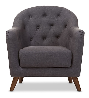 Wholesale Interiors Baxton Studio Niccolo Upholstered Club Chair; Dark Gray