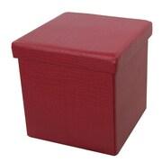 Woodland Imports Foldable Storage Ottoman; Wine Red