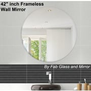 Fab Glass and Mirror Beveled Polished Frameless Wall Mirror w/ Hooks; 42'' H x 42'' W x 0.25'' D