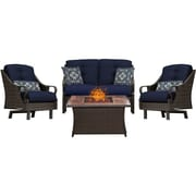 Hanover Ventura 4 Piece Fire Pit Deep Seating Group w/ Cushions; Navy
