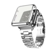 iPM Stainless Steel Watch Band with Plated Slim Case for Apple Watch-42mm-Silver (APWPLTD42SI)