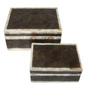 Essential Decor & Beyond Capiz Shell on MDF 2 Piece Box Set