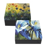 Essential Decor & Beyond Painted Flowers on MDF 2 Piece Box Set