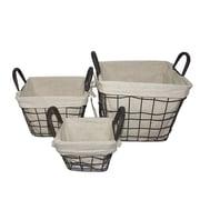 Essential Decor & Beyond 3 Piece Square Wire Basket w/ Linen Set