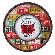 Essential Decor & Beyond Oversized 23.6'' Round Route 66 Metal MDF Wall Clock