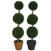 Essential Decor & Beyond Three Balls Round Cedar Topiary in Pot (Set of 2)