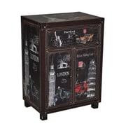 Essential Decor & Beyond Famous Global Landmarks Wooden 1 Drawer 2 Door Storage Cabinet