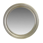 Essential Decor & Beyond Round Wooden Wall Mirror; Silver