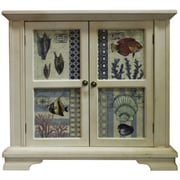 Essential Decor & Beyond Ocean Fish and Shells Wooden 2 Door Cabinet