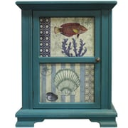 Essential Decor & Beyond Ocean Fish and Shells Two-Paneled Wooden 1 Door Cabinet