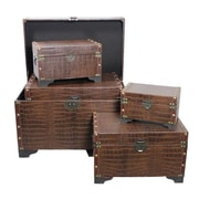 Essential Decor & Beyond 5 Piece Vintage Styled Leather Storage Trunk Set