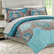 Manhattan Heights Double Damask Teal 8 Piece Bed in a Bag; Queen