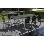 Urban Furnishings Modern Stainless Steel 9 Piece Dining Set