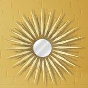 Metal Art Studio Sunburst Wall Mirror; Natural Maple / Walnut