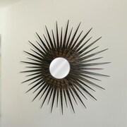 Metal Art Studio Sunburst Wall Mirror; Natural Walnut