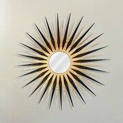 Metal Art Studio Sunburst Wall Mirror; Natural Walnut / Maple