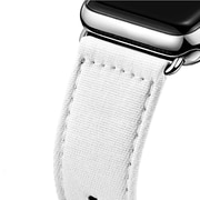 iPM Leather & Cloth Band with Buckle for Apple Watch-38mm-White Denim (LCL38WDNM)