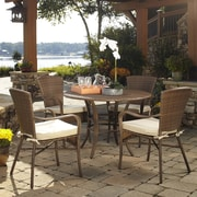 Panama Jack Key Biscayne 5 Piece Outdoor Dining Set w/ Cushions; Linen Champagne